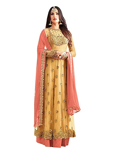42d0d70df RTHub Women s Net Embroidered And Hand Work Semi Stitched Anarkali salwar  suit (Yellow Free-Size Maskeen