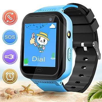 Niños Relojes Inteligentes Smartwatch Phone Resistente Al Agua Rastreador de Pantalla Táctil Juegos Linterna Alarma Chat de Voz SOS Cámara Deportes ...