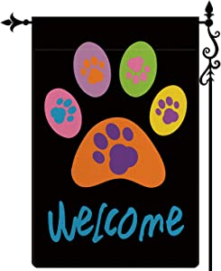 Coskaka Welcome Pet Paws Garden Flag,Puppy Dog Kitty Cat Pet Vertical Double Sided Black Rustic Farmland Burlap Yard Lawn Outdoor Decor 12.5x18 Inch