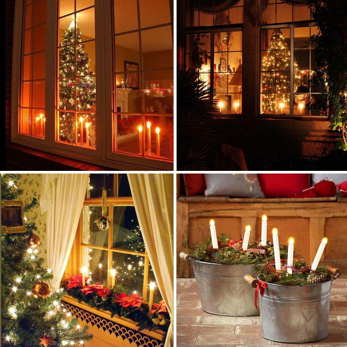 Window Candles Lights, YUNLIGHTS 12 Pack Battery Powered Window Candles Flameless Taper Candles with Remote Control, Timer, Removable Gold Holders, Suction Cups, Warm White Hanukkah Candles by YUNLIGHTS (Image #5)