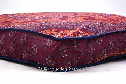 Indian cuadrados almohada elefante Mandala algodón Otomano Puf infantil con diseño grande mascotas perro cama 35