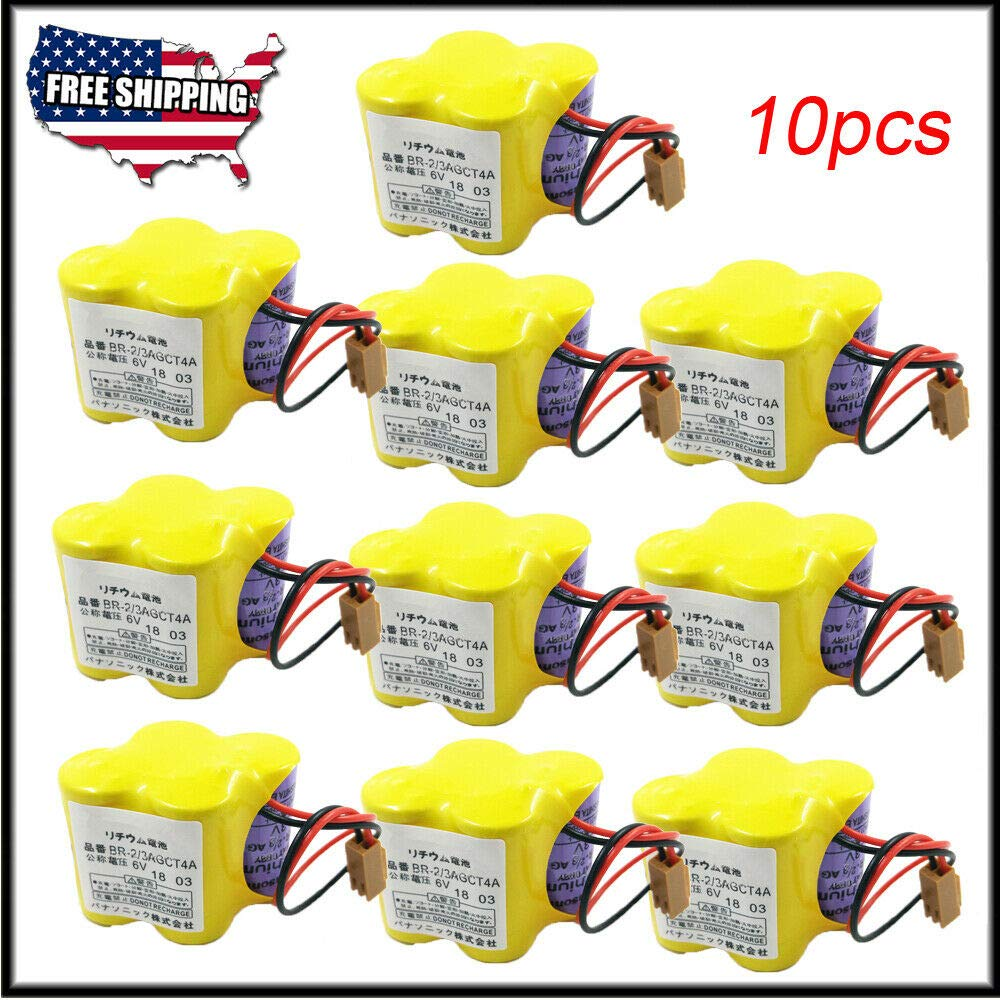 10-Pack BR-2/3AGCT4A 6V 4400mAh Replacement Battery for FANUC Controls A98L-0031-0025 CNC System by cjc