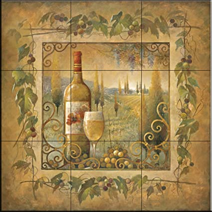 Ceramic Tile Mural - Villa Tuscan - by Elaine Vollherbst-Lane - Kitchen  backsplash/Bathroom shower