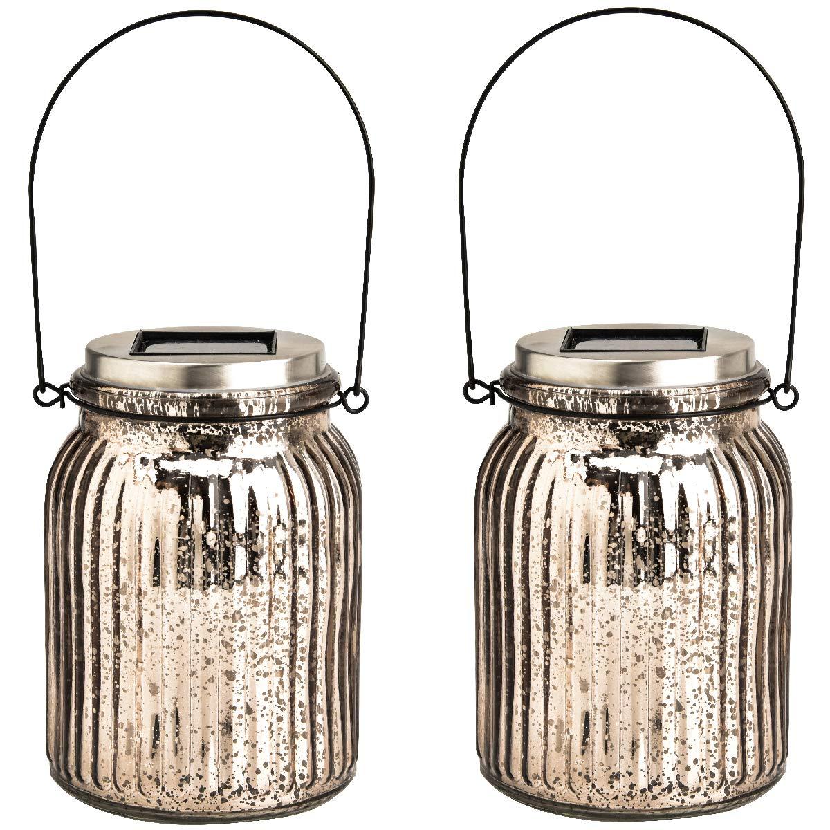 GIGALUMI Solar Powered Mercury Glass Mason Jar Lights, 2 Pack Hanging Solar Laterns Table Lights for Garden, Patio, Backyard.(Ideal Gift)