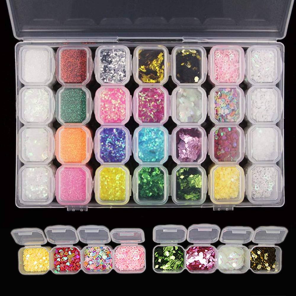 28 Boxes Nail Glitter Chunky Sequins Iridescent Flakes Ultra-thin Tips Colorful Mixed Paillette for Face Body Hair Nail Deco Art Craft Project DIY Slime Making by Hapree by Hapree