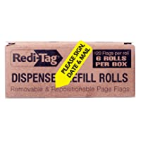 Redi-Tag Please Sign, Date and Mail Printed Arrow Flags, 6 Roll Refill, 120 Flags per Roll, 1-7/8 x 9/16 Inches, Yellow (91041)