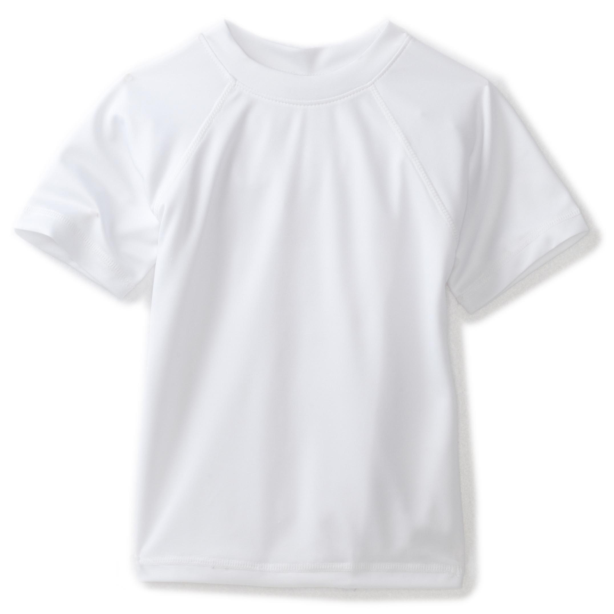 Kanu Surf Toddler Boys' Short Sleeve UPF 50+ Rashguard Swim Shirt, Solid White, 4T