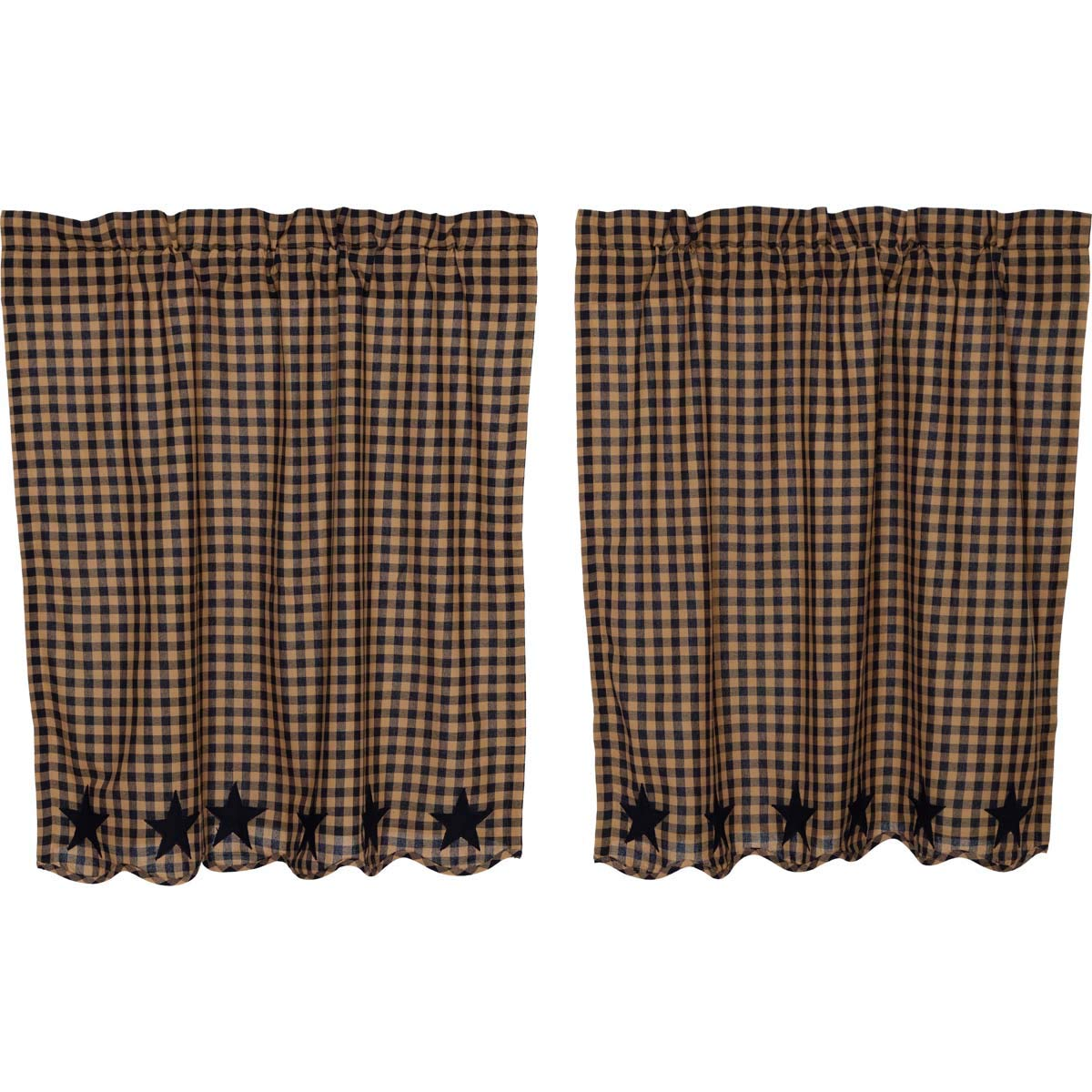VHC Brands Classic Country Primitive Kitchen Window Curtains-Star Blue Scalloped Tier Pair, L36 x W36, Navy by VHC Brands