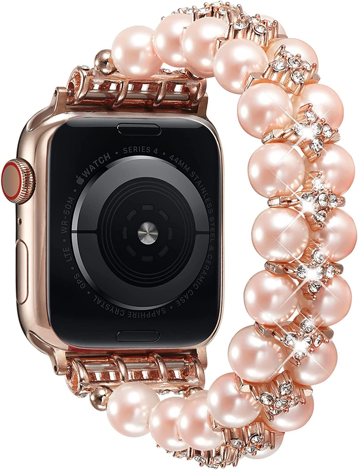 TOMMEIE Bracelet Compatible with Apple Watch Band,44mm/42mm 40/38mm Handmade Fashion Elastic Beaded with Rhinestone inlaid Band ,Compatible for iWatch Series SE/ 6/5/ 4/3/2/1 Women Girl Gift