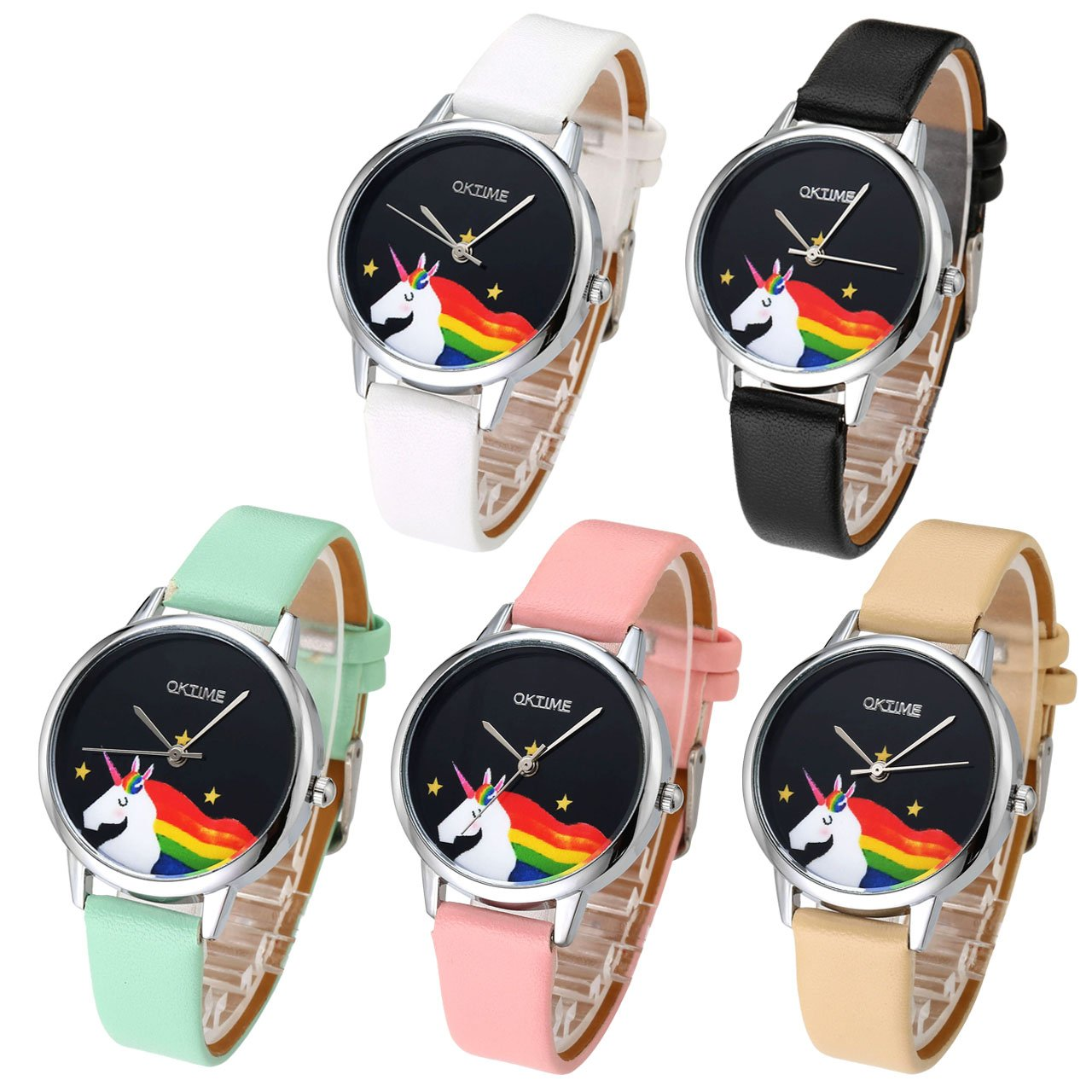 Top Plaza Women Fashion Silver Tone Quartz Analog Watch Thin PU Leather Strap Colorful Horse Pattern 3ATM Waterproof Casual Wrist Watch(Set of 5)
