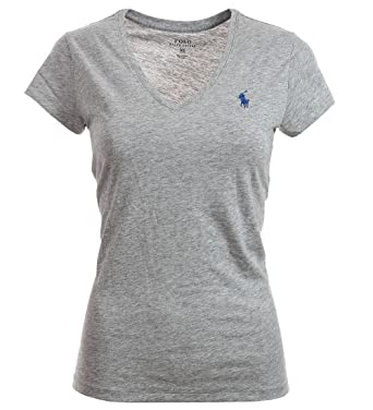 3c00b1149122 Ralph Lauren Polo Damen V Neck Shirt T-Shirt Grau Größe XS  Amazon ...
