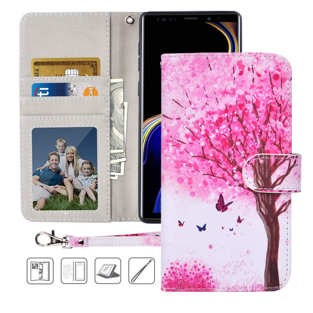 Urbeutyke Galaxy Note 9 Wallet Case, Galaxy Note 9 Case,Premium PU Leather Flip Folio Case Cover with Wrist Strap, Card Holder,Cash Pocket,Kickstand for Samsung Galaxy Note 9 - Pink tree