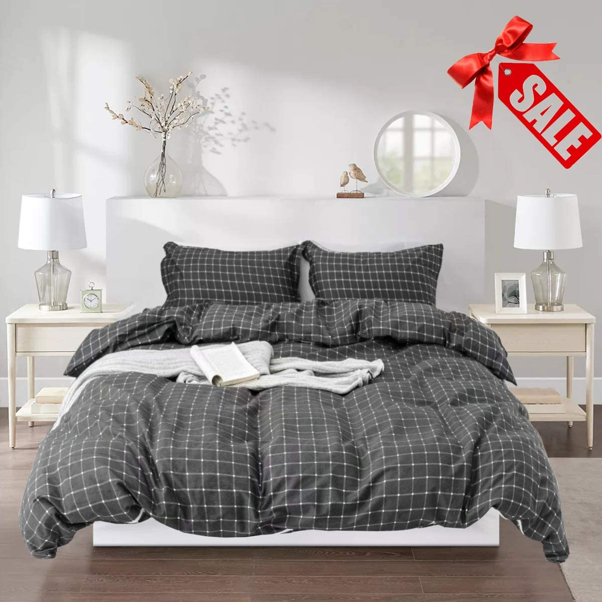 Wellboo Plaid Duvet Cover Set Gray Mini Grid Bedding Sets Twin Grey and White Checkered Cotton Comforter Covers Teens Boys Men Bedding Sets Gingham Square Geometric Reversible Duvet Cover No Comforter