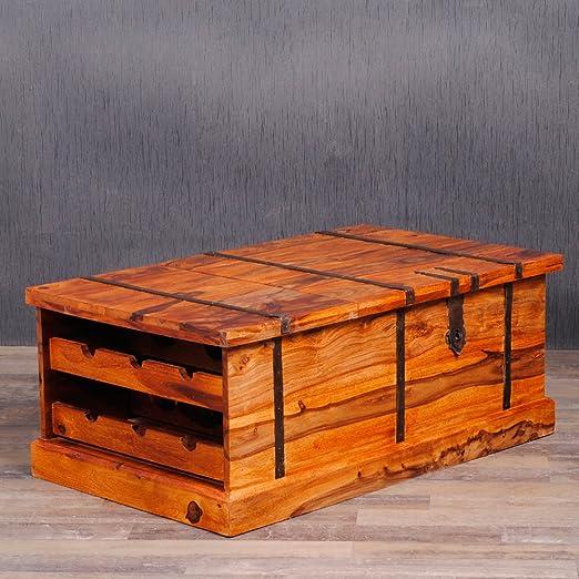 Mesa de centro con baúl de Sheesham y botellero de madera: Amazon ...