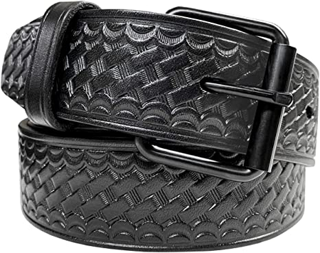 "Durable Genuine Black Leather Mens Uniform Work Utility Belt 1-1//2/"" Wide"