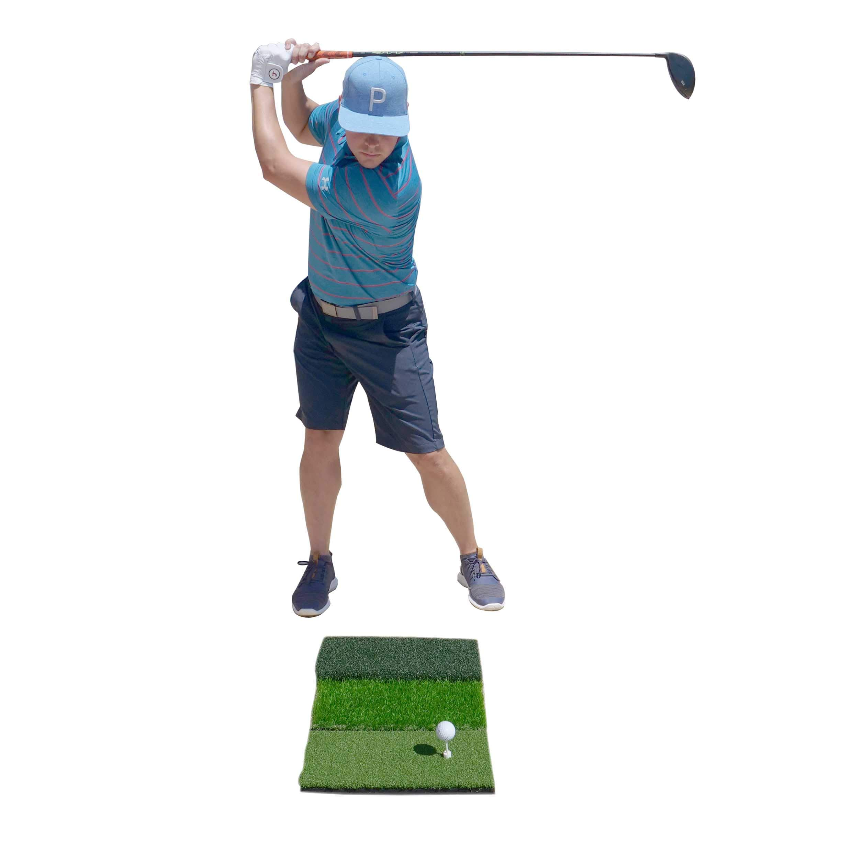 SharperGolf Premium 3-in-1 Tri-Turf Golf Hitting Mat 16'' x 25'' Includes 12 Practice Balls 3 Rubber Tees Rough, Fairway, Tight Lie, Driving, Chipping, Hitting, Golf Practice Indoor & Outdoors by SharperGolf