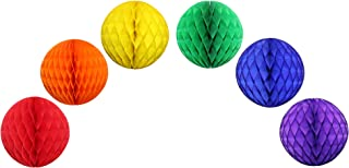 product image for Classic Rainbow Party Decorations - 12 Inch Honeycomb Balls (6 Balls)