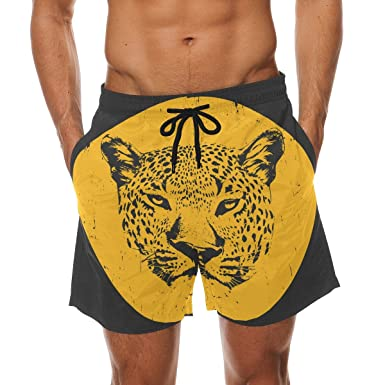 ba2536e088 Image Unavailable. Image not available for. Colour: COOSUN Men's Print  Drawing of Leopard Beach Board Shorts Quick Dry Swim Trunk