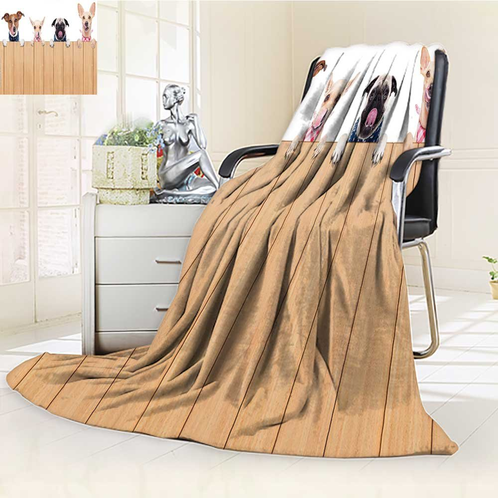 Throw Blanket Row of Hungry Dogs Tongue Sticking Out Behind A Wall of Wood Lunch Time Art Camel White Velvet Plush Throw Blanket