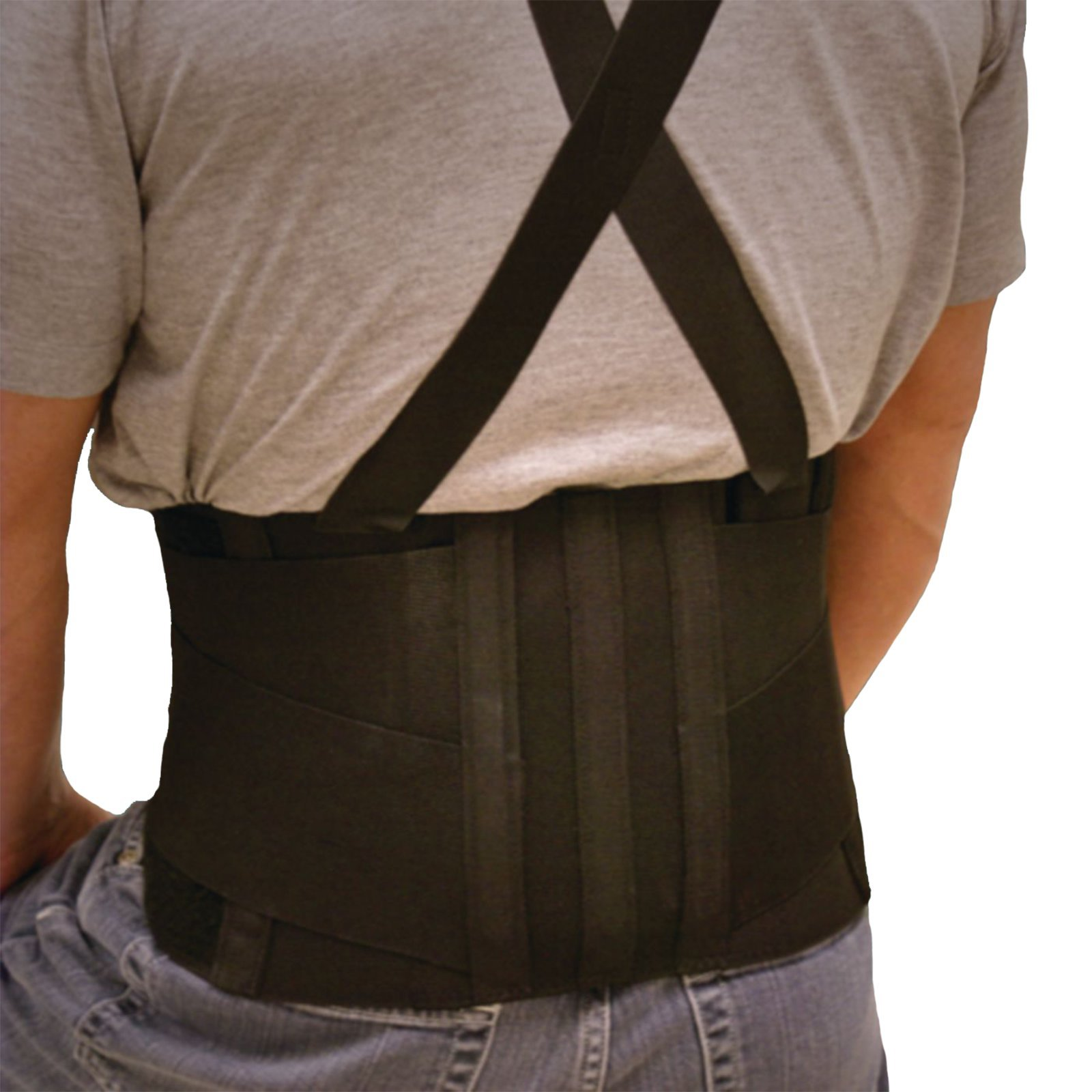 Lohmann & Rauscher Industrial Back Support, Contoured Lumbar Support Brace for Lower Back Pain, Support Belt with Foam Padding for Heat Retention and Compression