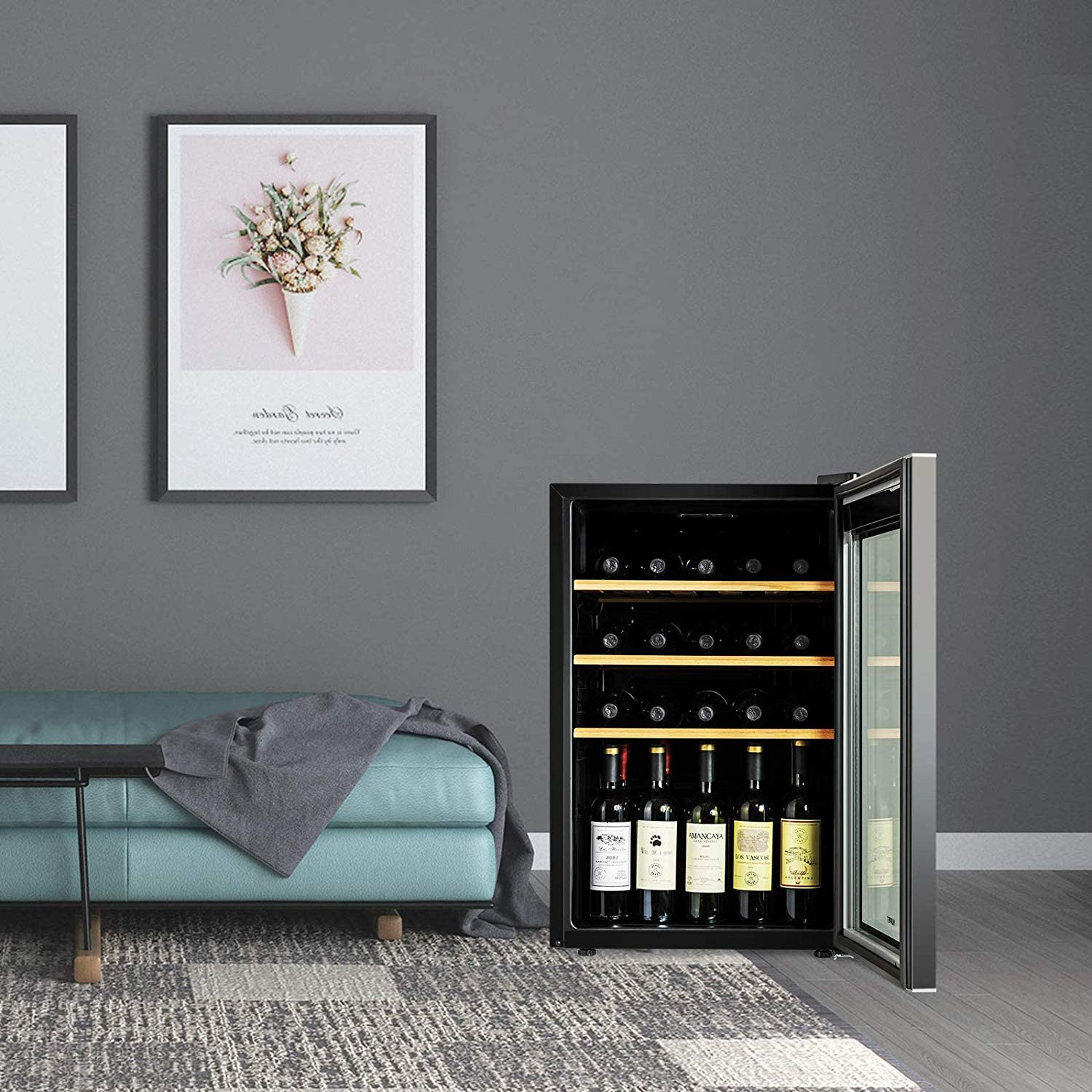 KUPPET Compressor 36 Bottle Wine Cooler, Counter Top Wine Cellar/Chiller, Wine Refrigerator Single Zone with Touch Control, Quiet Operation Fridge ...