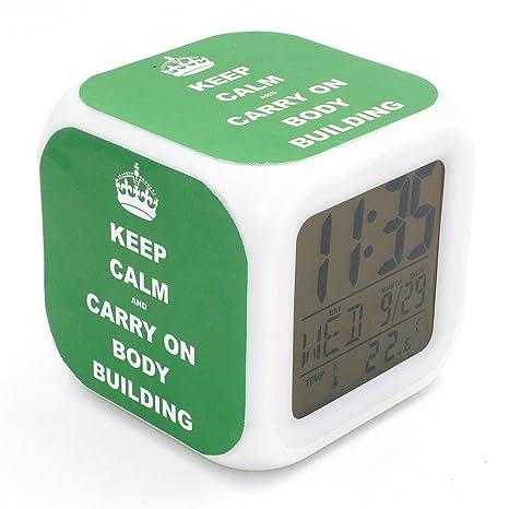 Boyan LED Alarma Reloj Keep Calm diseño de edificio con ...