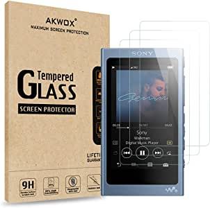 AKWOX [Pack of 3 Tempered Glass Screen Protector for Sony NW-A45, [0.3mm 2.5D High Definition 9H Hardnessm] Screen Protector for Sony NW A40 A45 A46 A47