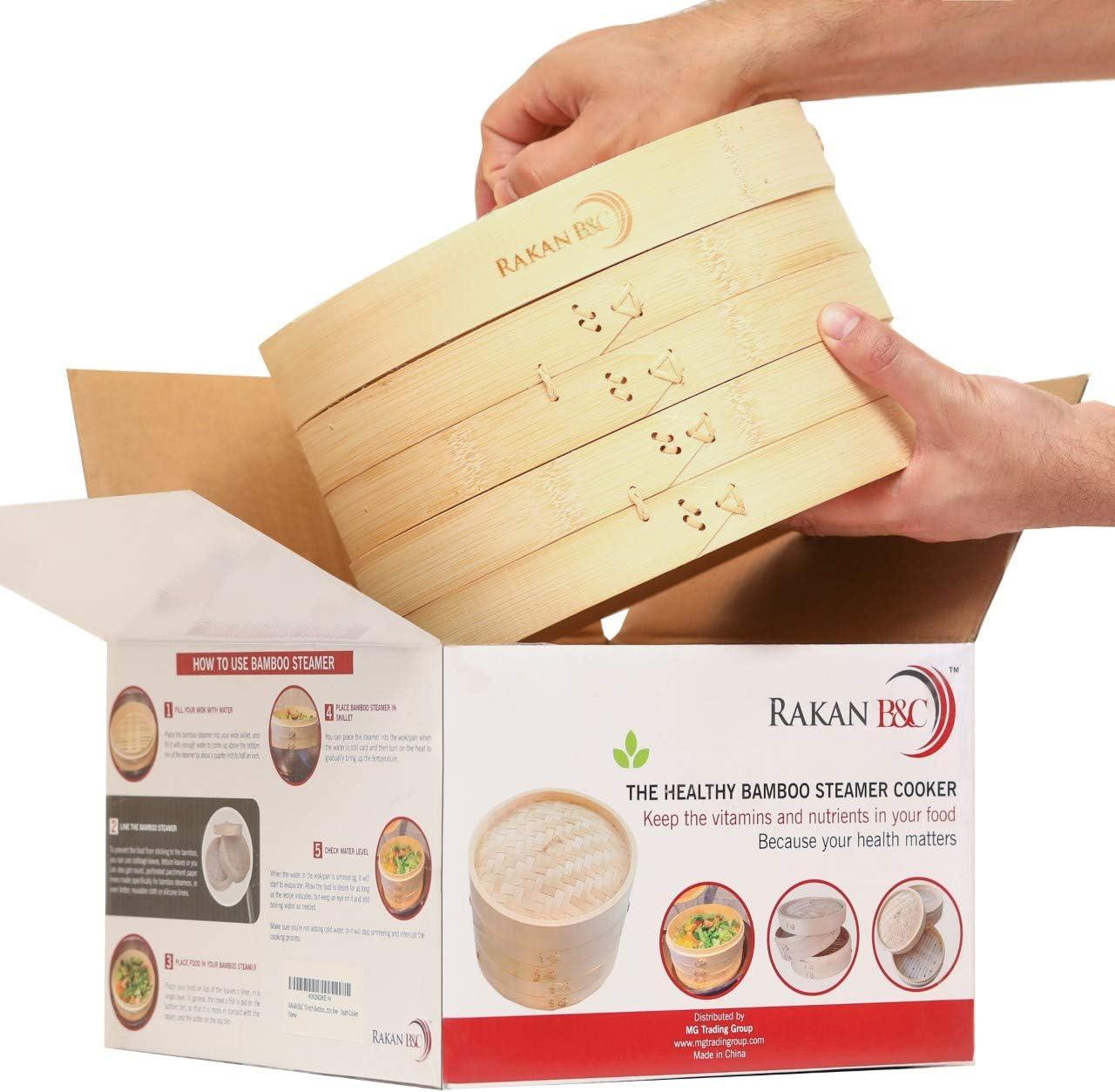 Rakan B&C Bamboo Steamer Basket 10 inch - Healthy Food Cooking Dumplings Vegetables Fish Steam Rice