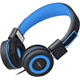 Elecder i37 Kids Headphones for Children Girls Boys Teens Foldable Adjustable On Ear Headphones with 3.5mm Jack for iPad Cellphones Computer MP3/4 Kindle Airplane School Black