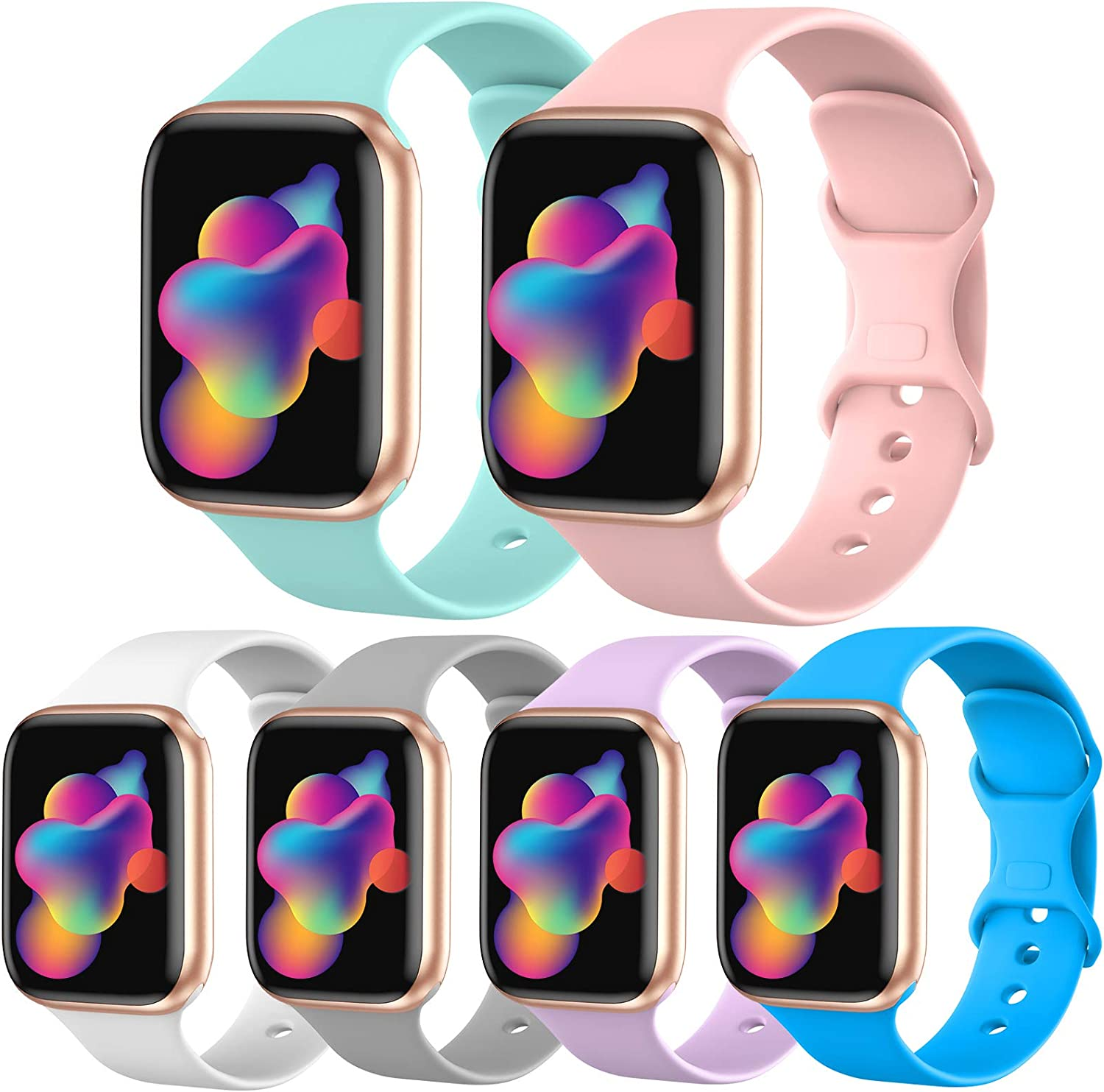 [6 Pack] OriBear Sport Band Compatible with Apple Watch Band 38mm 40mm, Durable Soft Silicone Replacement Strap for iWatch Band 6/5/4/3/2/1 for Women Men Kids S/M Pack D