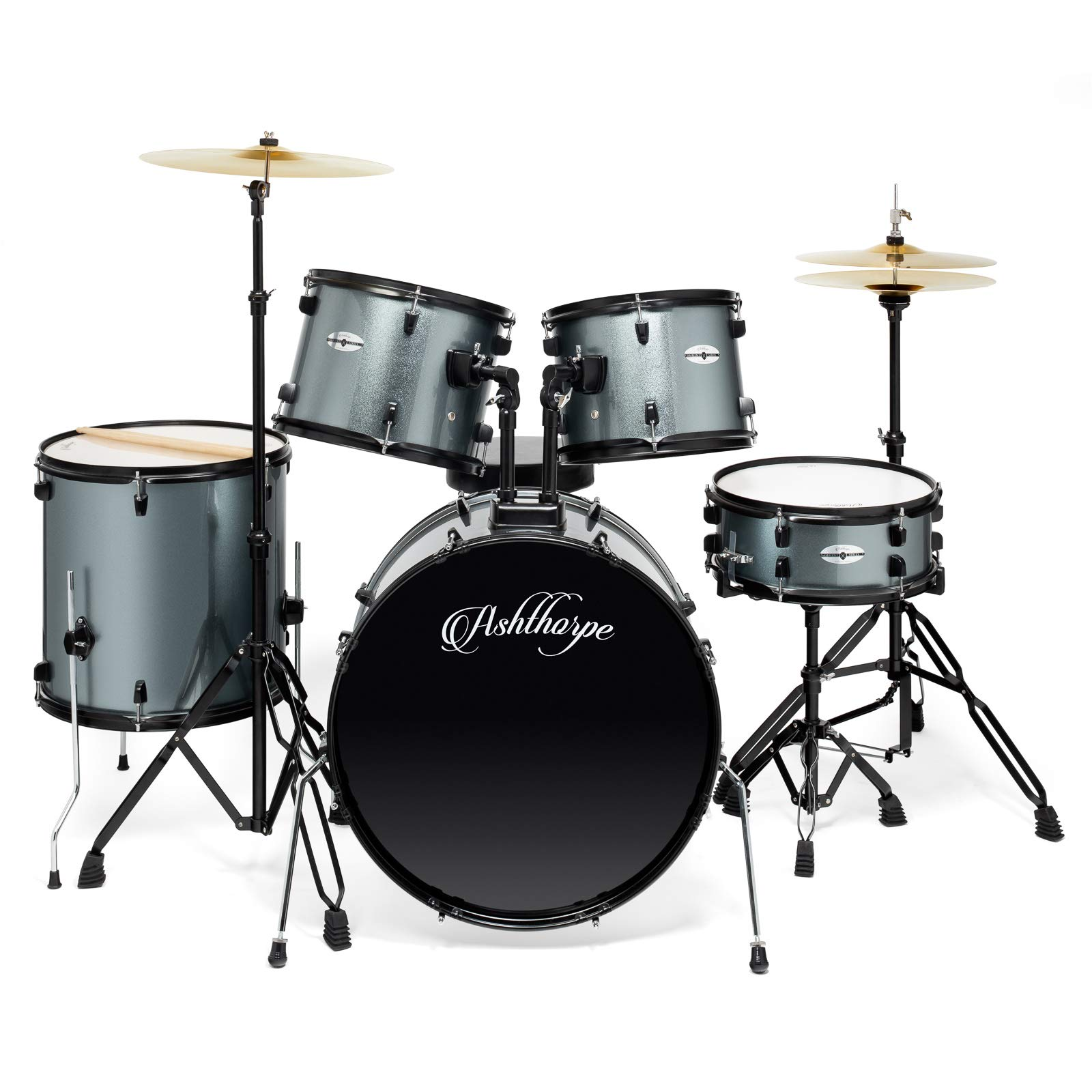 Ashthorpe 5-Piece Complete Full Size Adult Drum Set with Remo Batter Heads - Silver by Ashthorpe (Image #2)