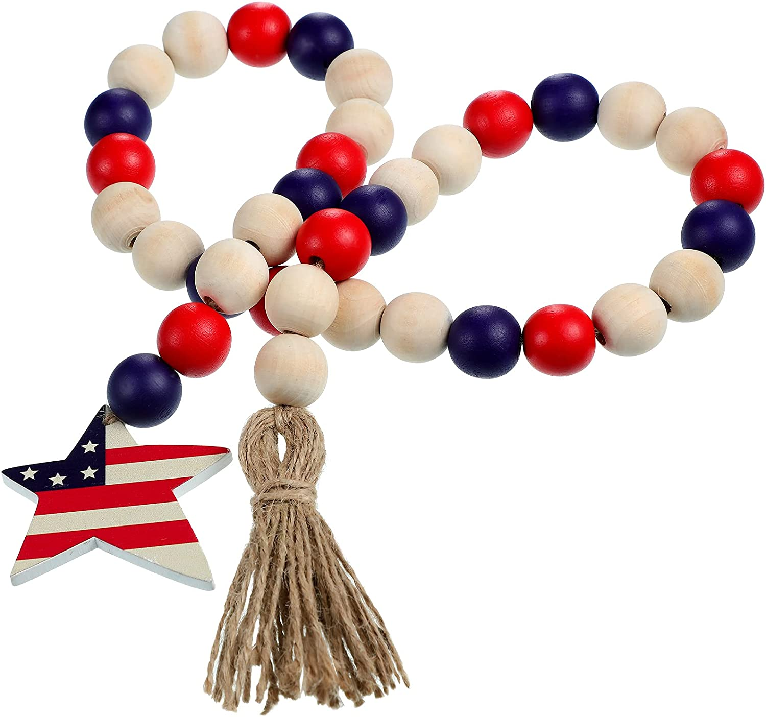 Patriotic Independence Day Wood Bead Garland with American Flag Star Farmhouse Wall Hanging Prayer Beads Decorative Tray Decor for 4th of July Memorial Day Decor Rustic Tassels Decor