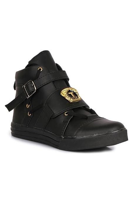 de2589984b1967 Buy APPE Men s Black High-Top Shoes - 7 UK Online at Low Prices in India -  Amazon.in