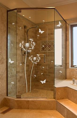 Pusteblume Aufkleber für Dusche Duschtür Duschwand Folie Bad Badezimmer  Zimmertür Fenster Window wasserfest selbstklebende Folie mit losen Pollen  und ...