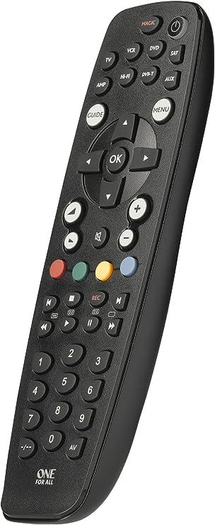 One For All URC2981 OFA8 - Control remoto universal para 8 aparatos (TV, TDT, DVD/Blu-ray, Multimedia y Audio), Negro: Amazon.es: Electrónica
