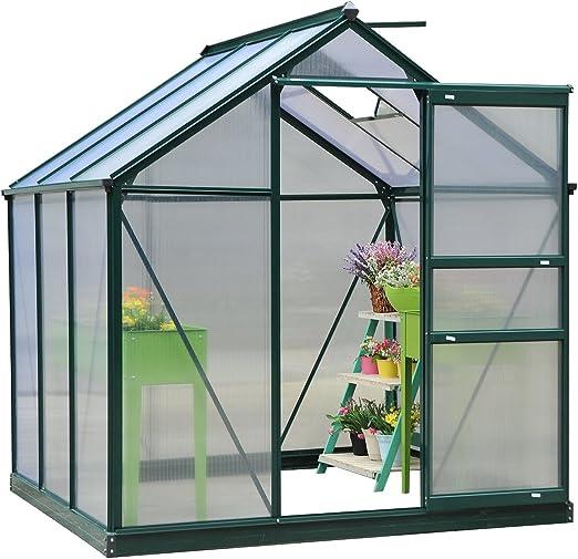 Outsunny – Invernadero de policarbonato transparente, desmontable, de gran tamaño, verde, casa jardín, base galvanizada, marco de aluminio w / puerta corrediza: Amazon.es: Jardín