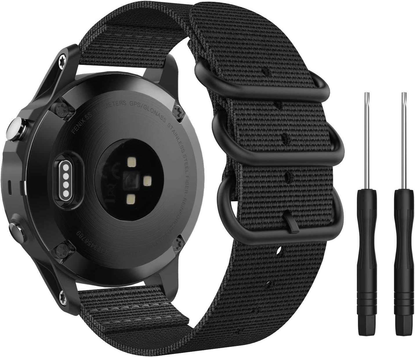 MoKo Band Compatible with Garmin Fenix 5S/Fenix 5S Plus Smart Watch, Fine Woven Nylon Adjustable Replacement Strap with Metal Buckle - Black
