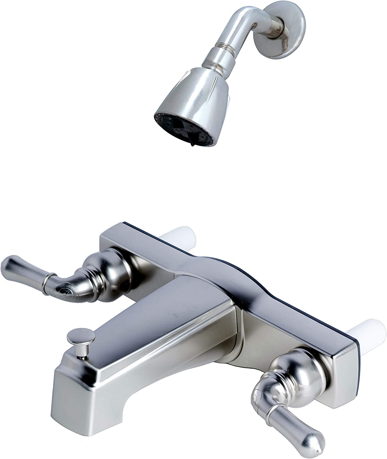 """Laguna Brass 3310BN/4010BN Mobile Home Two Handle Non-Metallic 8"""" Tub Diverter with Shower Head/Arm/Flange, Brushed Nickel Finish"""