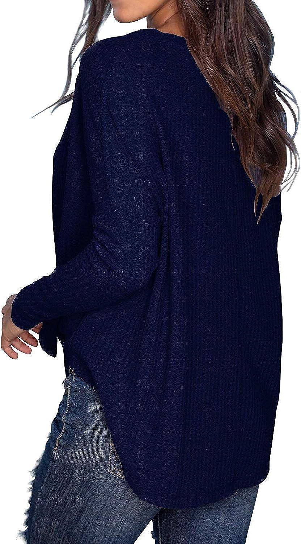 MOLERANI Womens Waffle Knit Tunic Tops Loose Long Sleeve Button Up V Neck Henley Shirts