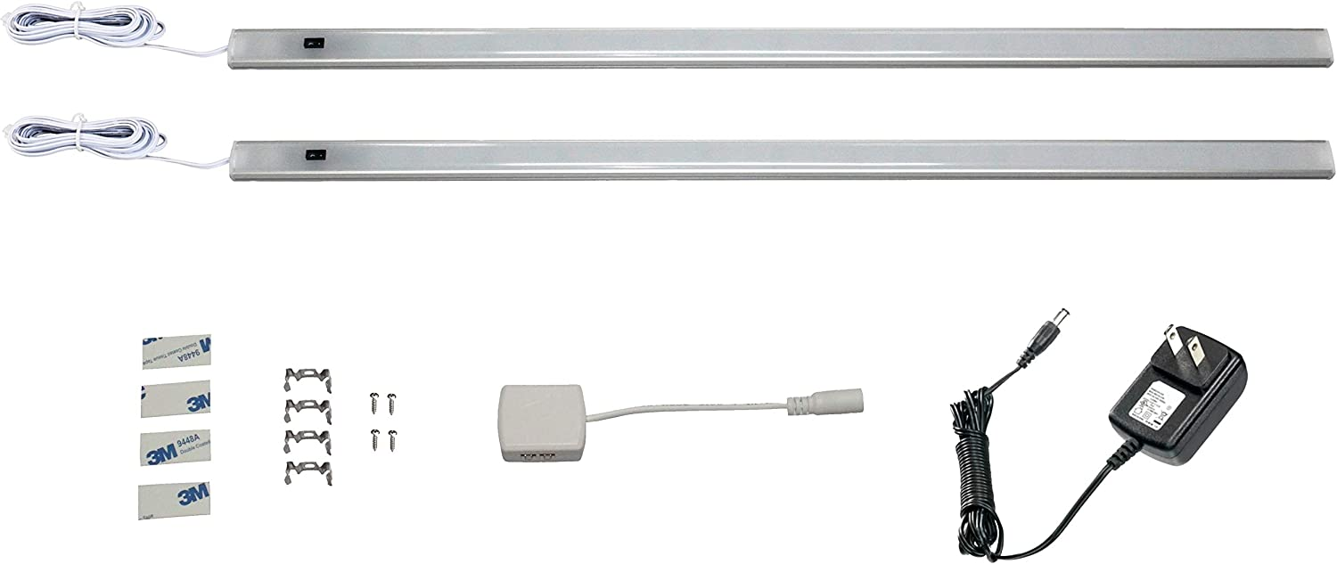 Under Cabinet LED Lighting, Plug in, 2 pcs, 1.6 Foot, Cabinet Light Strips, 700 lms, for Kitchen Cabinets Counter, Closet, Shelf Lights, 7W, Cold White, 6500K Color Temp, Motion Activated