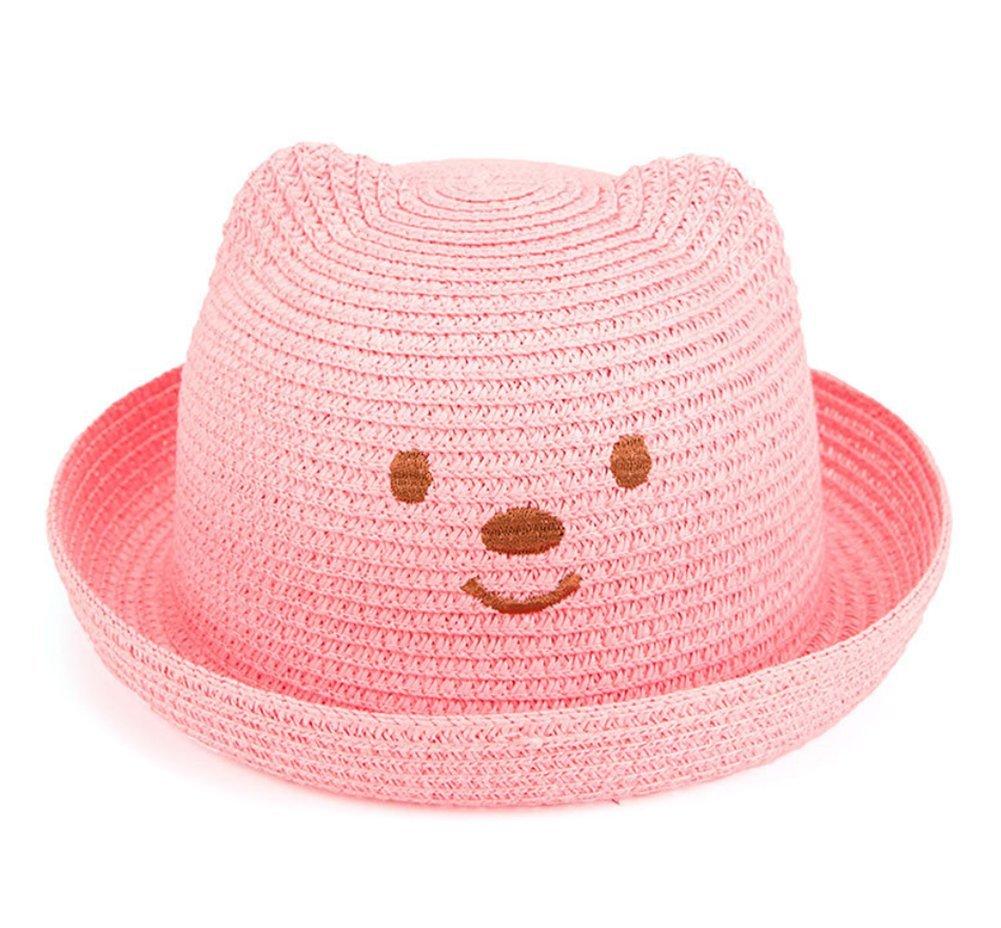 Wicemoon Childrens Hat Bear Shape Straw Hat Baby Sunshade Hat Infant Basin Hat Sun Hat Straw Hat Burst Beach Cap