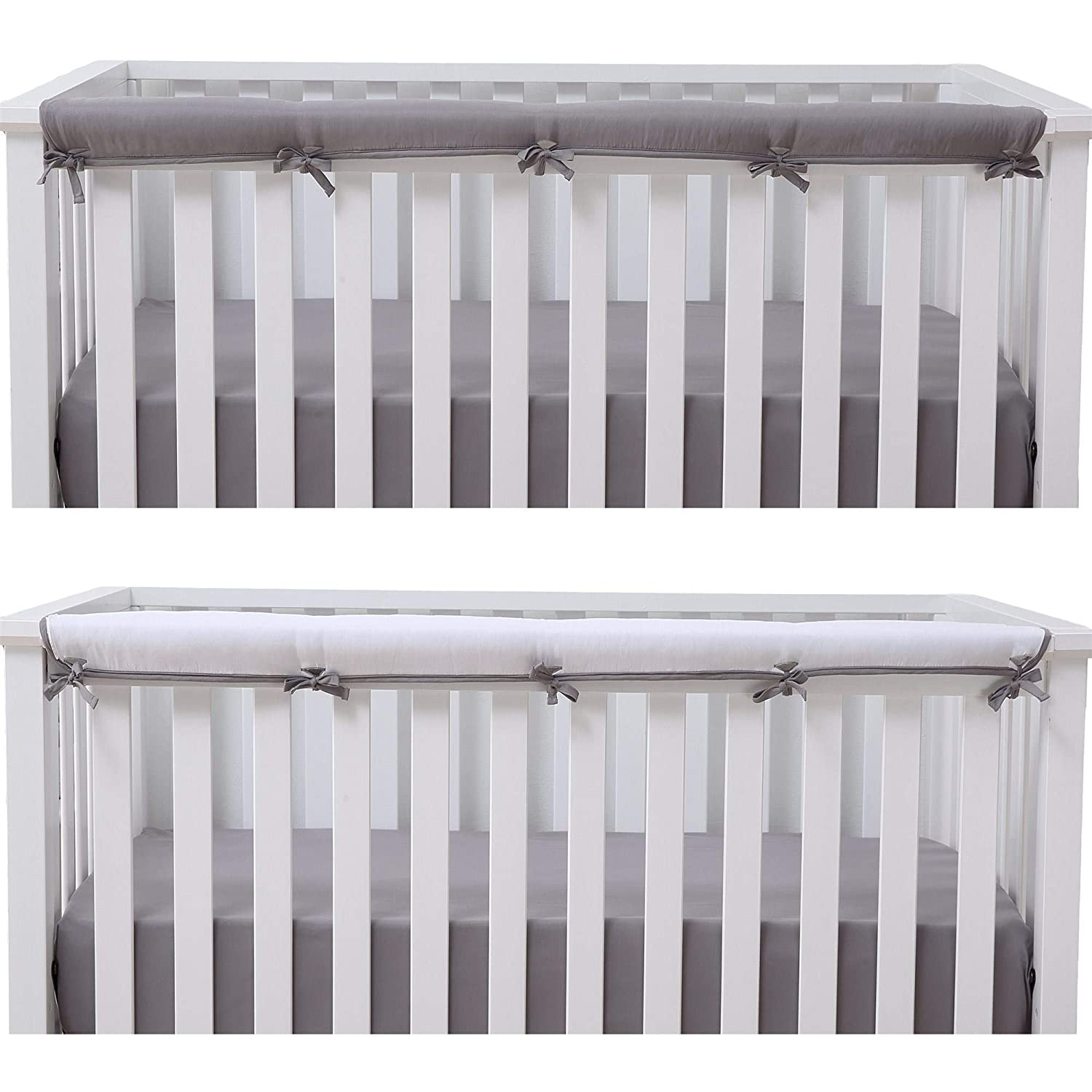 Amazon Com Belsden 1 Pack Baby Safe Crib Rail Cover For Long Front Rail Reversible Breathable Padded Crib Teething Guard And Protector Measuring Up To 8 Round Gray And White Colors Baby
