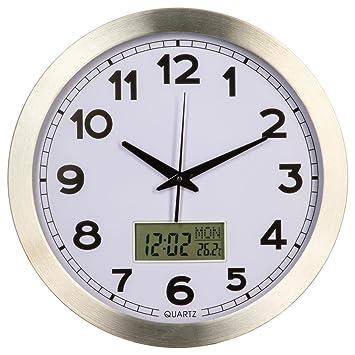 2 en 1 : Pendule horloge murale avec écran digital pour heures + ...