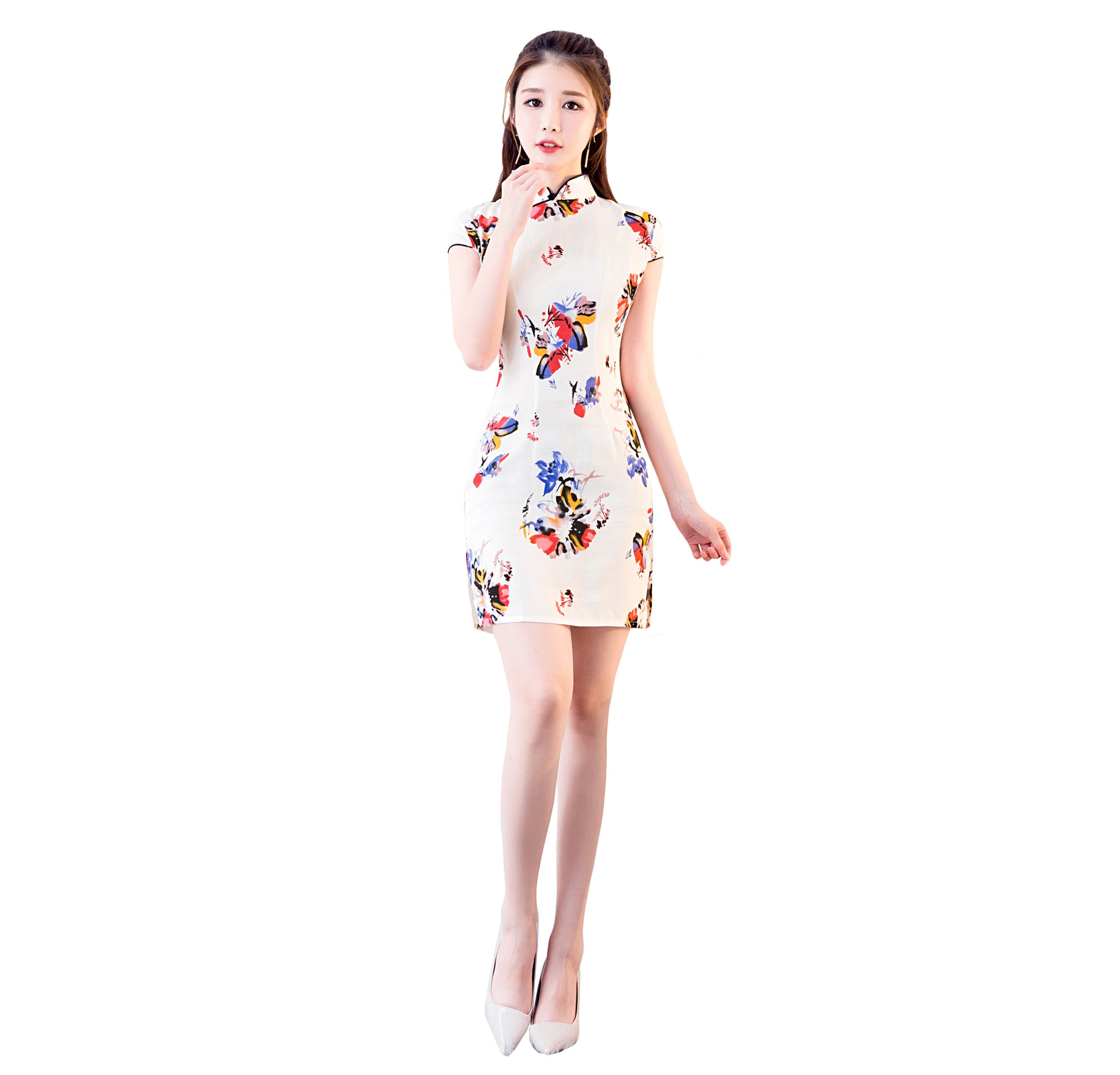 ACVIP Women's Flower Print Short Chinese Traditional Cheongsam Qipao Bodycon Dress (US 4(China L), Color 1)