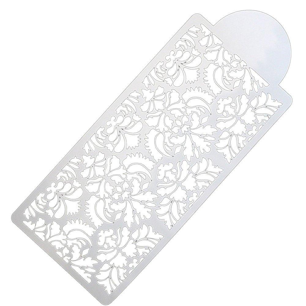 Adagod Lace Flower Decor Mould Border Baking Tool Side Damask Fondant Cake Stencil