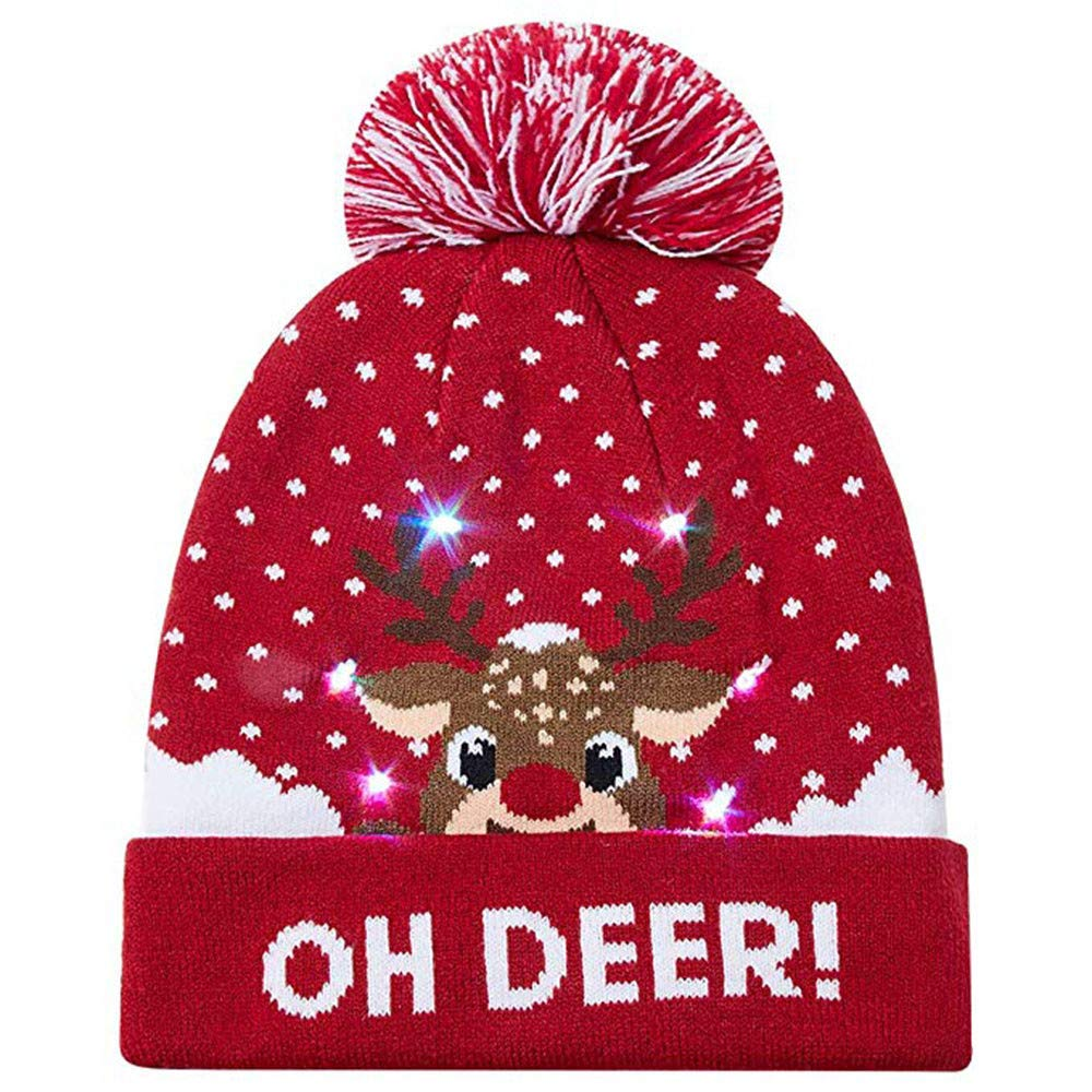 Hevoiok Christmas LED Light-up Beanie Hat Casual Fashion Novelty Christmas Printed Knit Wool Warm Hairball Soft Hats Men Women Xmas Best Gifts DJHZYF-151008-A
