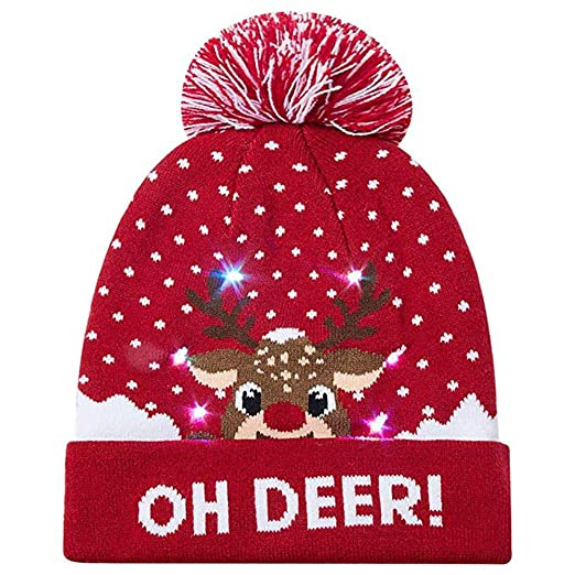 9712f27c0150f Amazon.com  Clearance Sale LED Light-up Hat for Christmas FEDULK Knitted  Ugly Sweater Holiday Xmas Beanie Cap(A