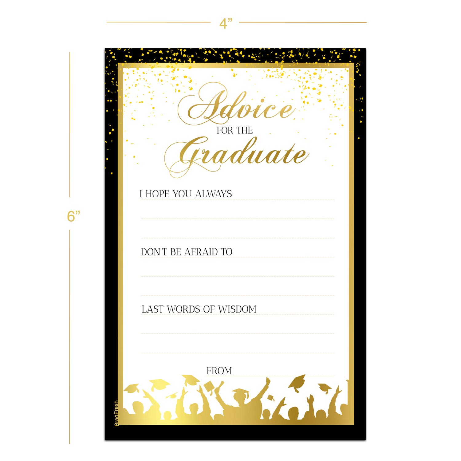 25 Graduation Advice Cards for the Graduate - High School or College Graduation Party Games Activities Invitations Decorations Supplies by Brag Fresh (Image #3)