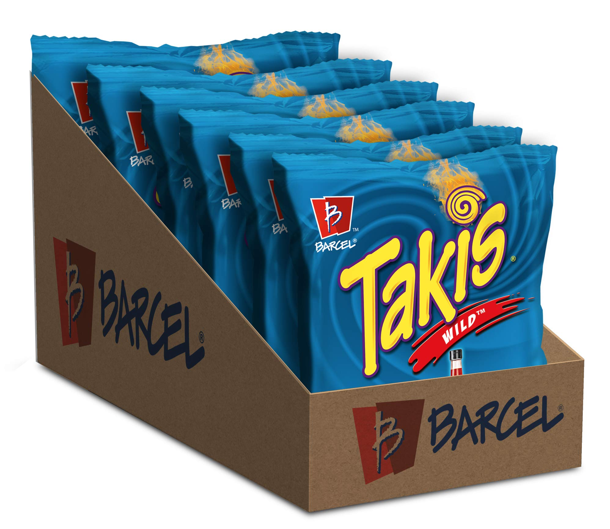 Barcel Takis - Crunchy Rolled Tortilla Chips – Wild Flavor (Spicy Buffalo Ranch), Box with 6 Bags (4 oz each)