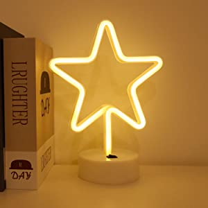 BHCLIGHT Star Neon Signs LED Neon Light Sign with Holder Base for Table Light Home Party Birthday Bedroom Bedside Table Decoration Children Kids Gifts (Star)